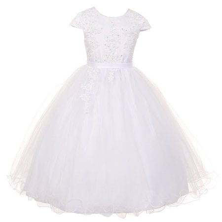 Rainkids Big Girls White Pearl Sequin Tulle Communion Flower Girl Dress 16 (White Girl Dresses)