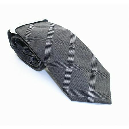 Kris Grid Plaid Men's Silk Necktie Not Applicable - Grid Microfiber Tie