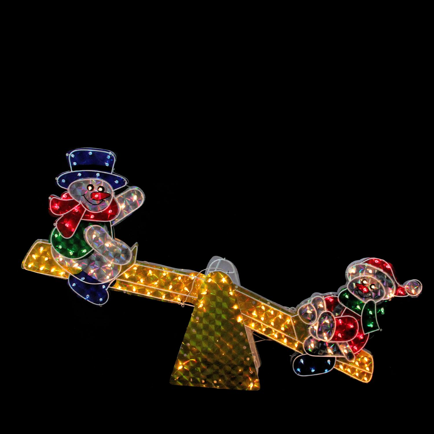 """48"""" Lighted Sparkling Holographic Snowmen on See Saw Christmas Outdoor Decoration"""