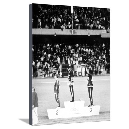 1968 Olympic Games, Mexiko City, Mens 200 M, Tommie Smith, USA, Gold, and J, Carlos, Bronze Stretched Canvas Print Wall Art