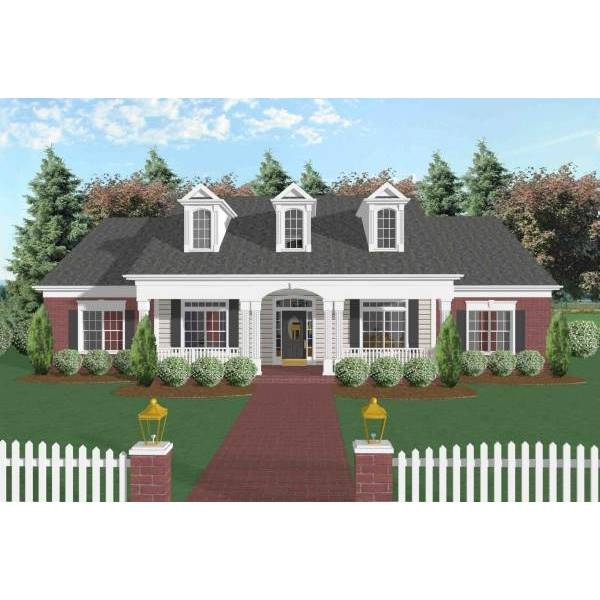 TheHouseDesigners-6252 Colonial House Plan with Crawl Space Foundation (5 Printed Sets)