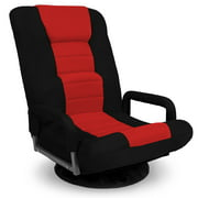 Best Choice Products 360-Degree Swivel Gaming Floor Chair w/ Armrest Handles, Foldable Adjustable Backrest - Red