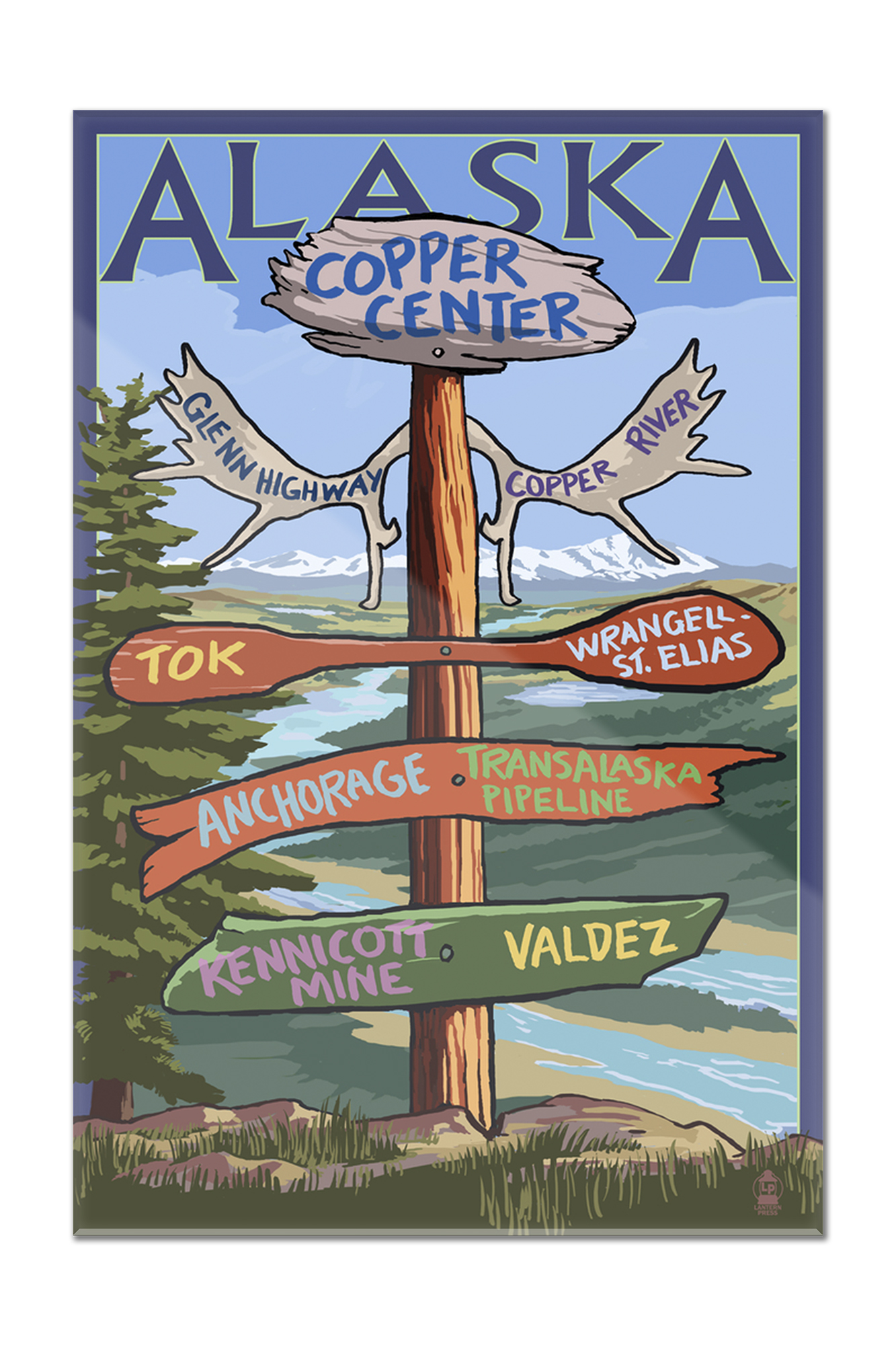 Copper River, Alaska Sign Post Lantern Press Poster (8x12 Acrylic Wall Artwork Gallery Quality) by Lantern Press