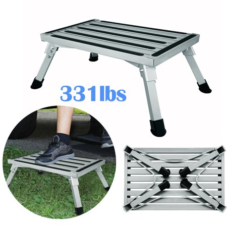 Finether Adjustable Height Aluminum Platform Step Stool 331lbs Ladder Folding Work Bench, Includes Non-Slip Rubber Feet, Durable Construction (EN 131 Certified)