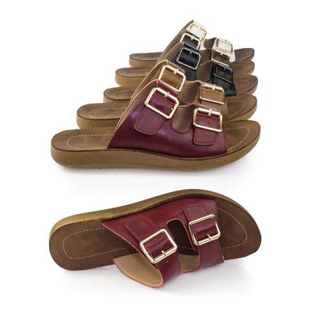 Recent02 by Forever Link, Cushioned Lightweight Molded Footbed Slippers Sandal w Double Buckle ()