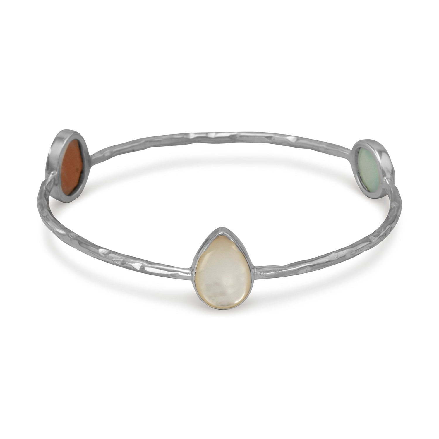 Sterling Silver Hammered 2mm Stackable Bangle Bracelet Mother Of Pearl Moonstone Green Chalcedony by
