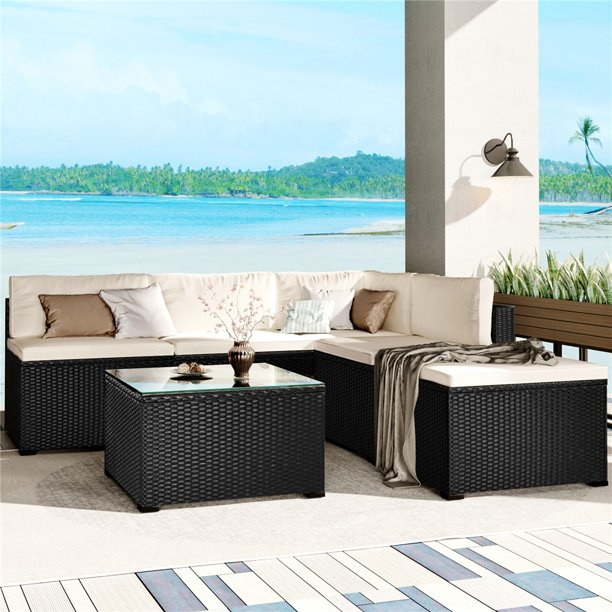 Patio Dining Sets, 6 Piece Outdoor Sectional Sofa Set with Glass