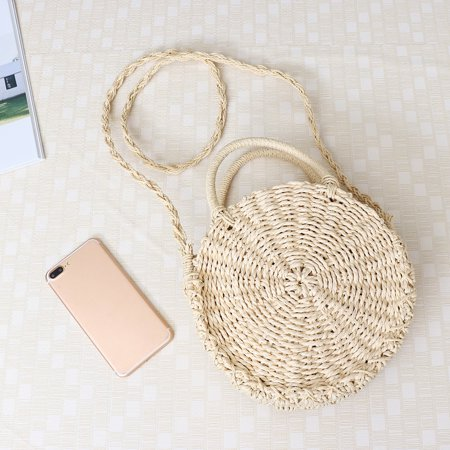 Satchel Style Shoulder Bag - Women Straw Bag Woven Round Handbag Boho Style Girl Crossbody Bags