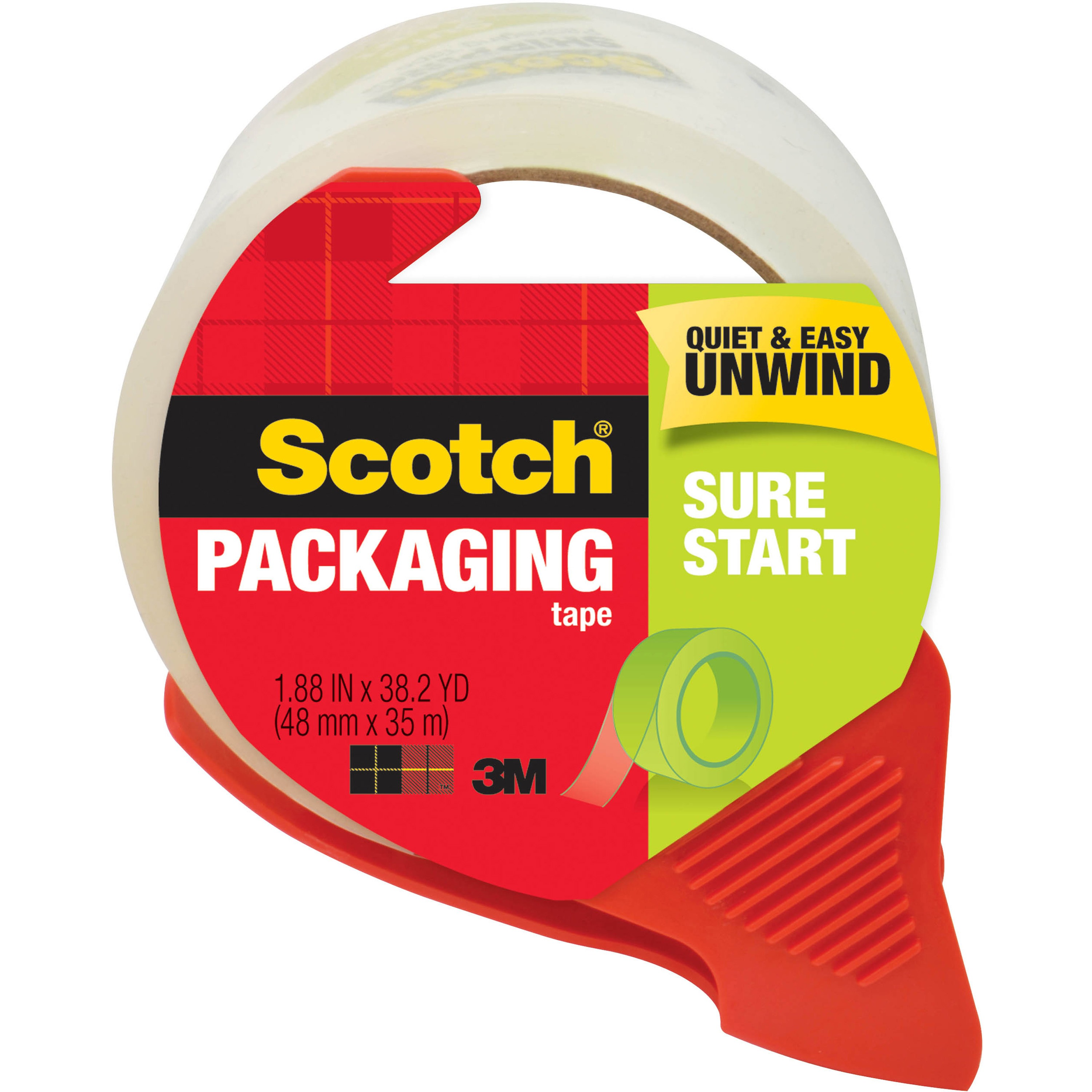Scotch Sure Start Shipping & Packaging Tape with Dispenser, 1.88 in. x 38.2 yd. per Roll, Clear, 1 Dispenser/Pack