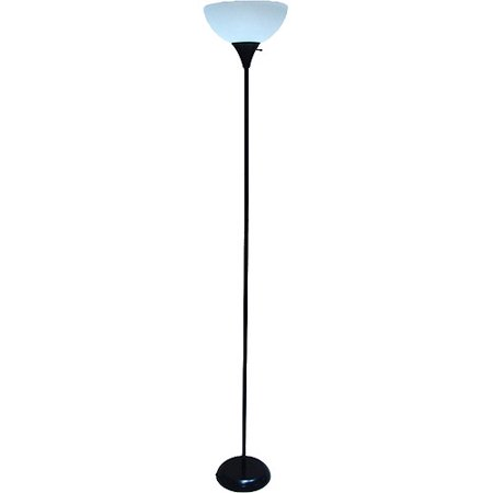 Mainstays black lamp with bonus cfl bulb walmartcom for Mainstays 3 light floor lamp