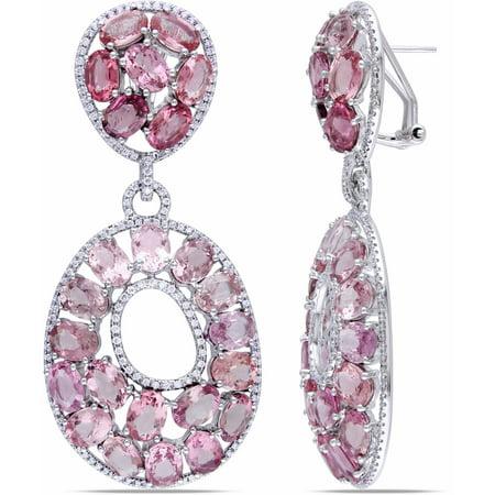 40-4/5 Carat T.G.W. Pink Tourmaline and 1-1/2 Carat T.W. Diamond 14kt White Gold Dangle Earrings](Dangle Reno)