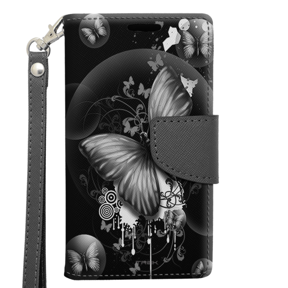 Alcatel OneTouch Pop Astro Wallet Case - Highlighted Butterfly Black on Black