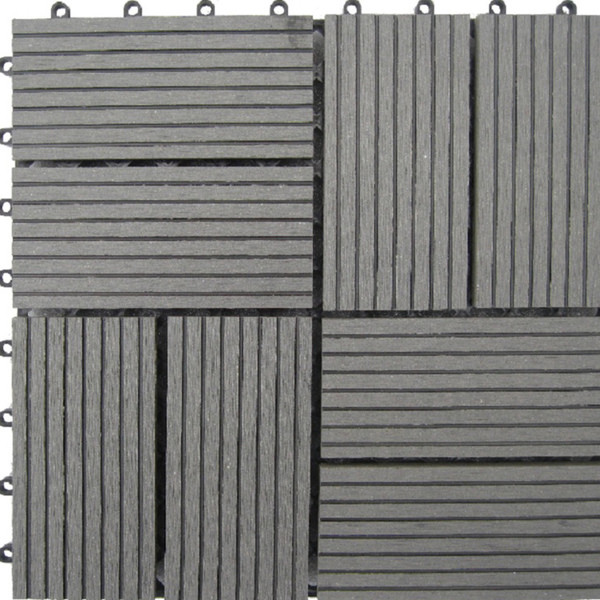 Naturesort N4-OTM8G 8-Slat Bamboo Composite Deck Tiles, Grey