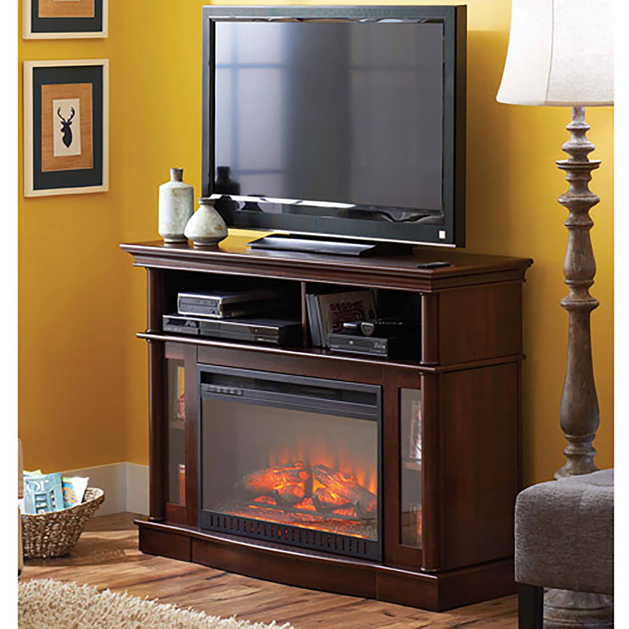 "Better Homes and Gardens Ashwood Road Media Electric Fireplace for TVs up to 45"", Brown"