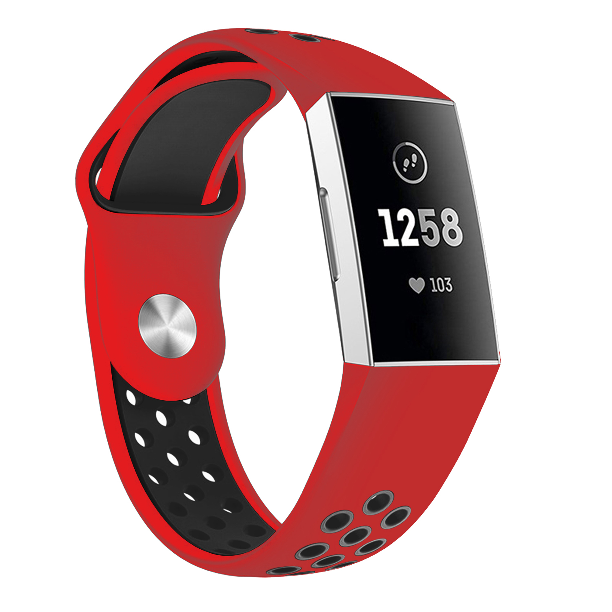 Moretek Charge 3 Replacement Bands, Silicone Wrist Straps Band Compatible for Fitbit Charge 3 (Red+Black, Large)