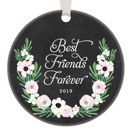 """Best Friends Forever Gifts 2019, BFF Christmas Ornament, Friendship Bestie Best Sorority Soul Sisters Present 3"""" Pink Flowers Flat Circle Porcelain with White Ribbon & Free Gift Box OR00515"""