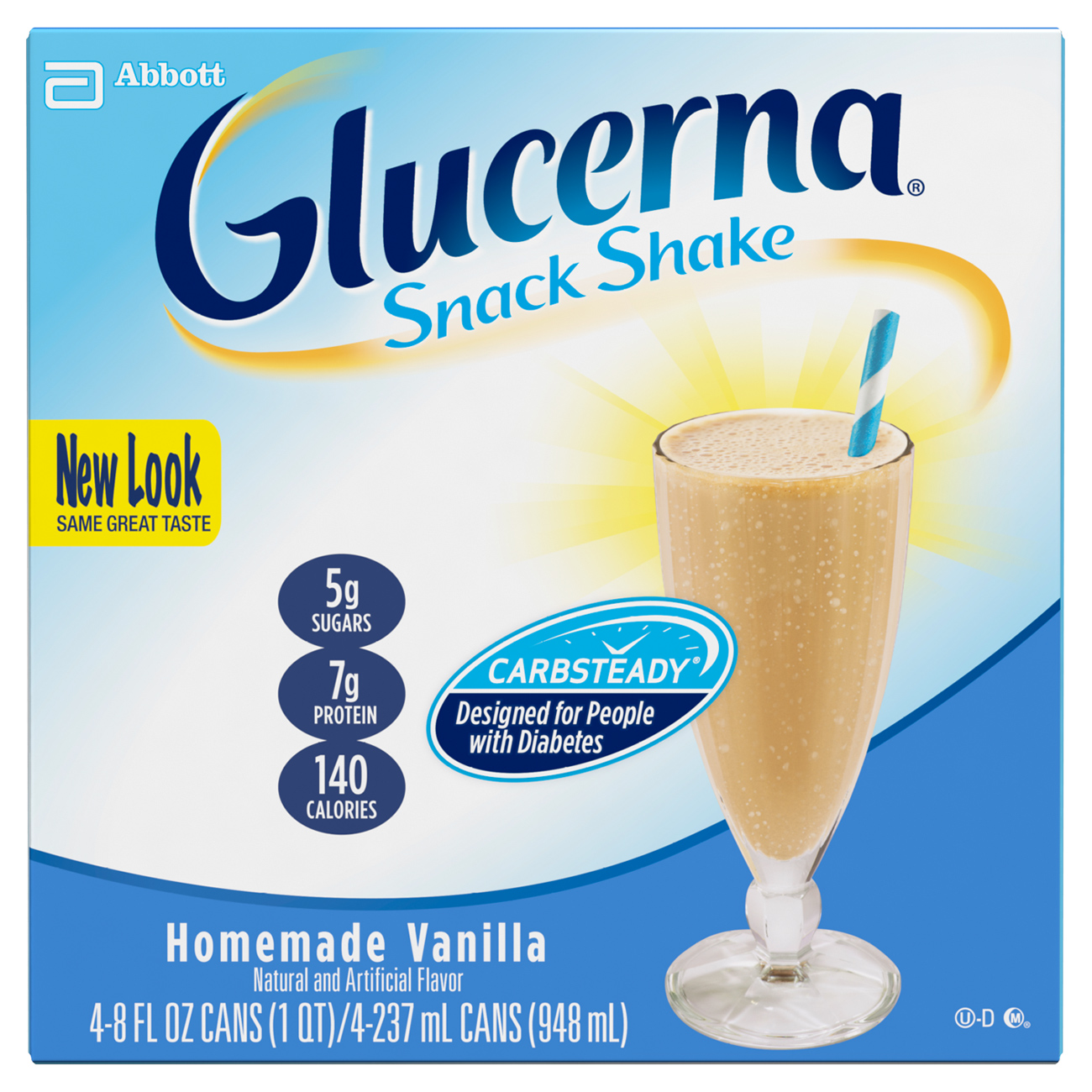 Glucerna Snack Shake, To Help Manage Blood Sugar, Homemade Vanilla, 8 fl oz, (Pack of 4)
