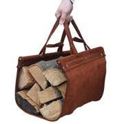 Premium Leather Log Carrier - Brown