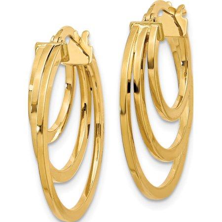 Leslie's 14K Polished Fancy 3 Hoop Earrings (23.5x22) - image 2 de 3