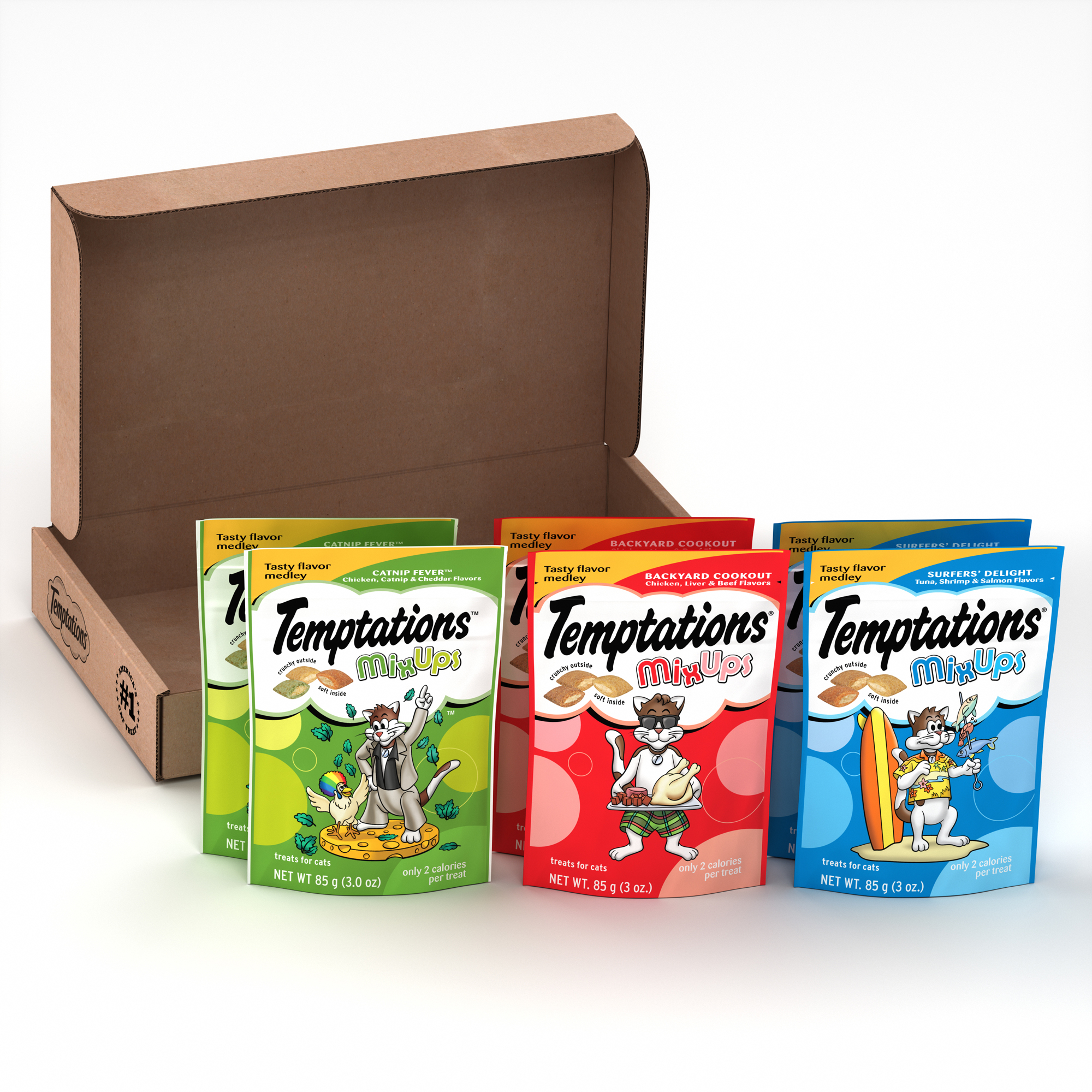 TEMPTATIONS MixUps Cat Treats Variety Pack in Backyard Cookout, Surfer's Delight, and Catnip Fever Flavors, 3 oz. Pouches (Pack of 6)