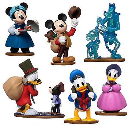 - Disney Store Mickey's (Charles Dickens Inspired) Christmas Carol Figurine Playset 6 Piece Figure Play Set - Special Edition