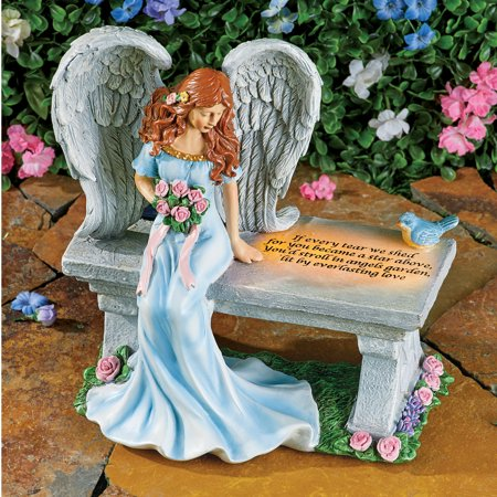 Collections Etc Angel of Heaven with Saying Memorial Solar Light Up Sculpture - Hand-Painted Detail with Textured Wings Angel Sculpture Jewelry