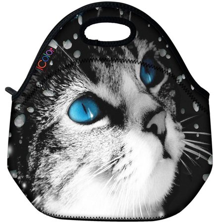 Blue Eye Cat Thermal Neoprene Waterproof Kids Insulated Lunch Portable Carry Tote Picnic Storage Bag Lunch box Food Bag Gourmet Handbag Cooler warm Pouch Tote bag For School work Office FLB-016 ()