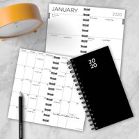 2020 Basic Black Small Weekly Monthly Spiral Planner 3.75 x 6.5
