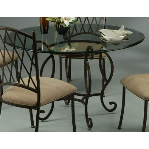 Atrium 48 in. Round Dining Table w Bevel Glass Top