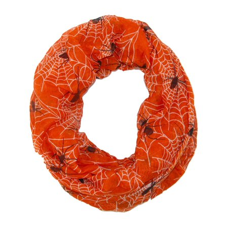Women's Spider Web Halloween Holiday Infinity Loop Scarf