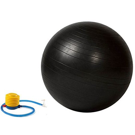 Anti Burst Stability Ball with Foot Pump 55cm Black, Strengthen, stretch and tone all major muscle groups By Bespolitan Sports - Stretch Ball