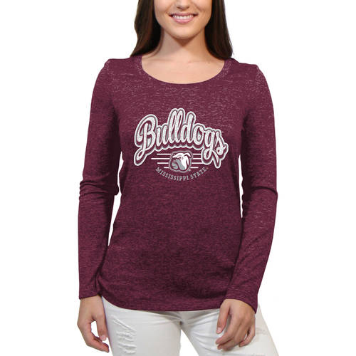 NCAA Mississippi State Bulldogs Funky Script Women'S / Juniors Team Long Sleeve Scoop Neck Shirt