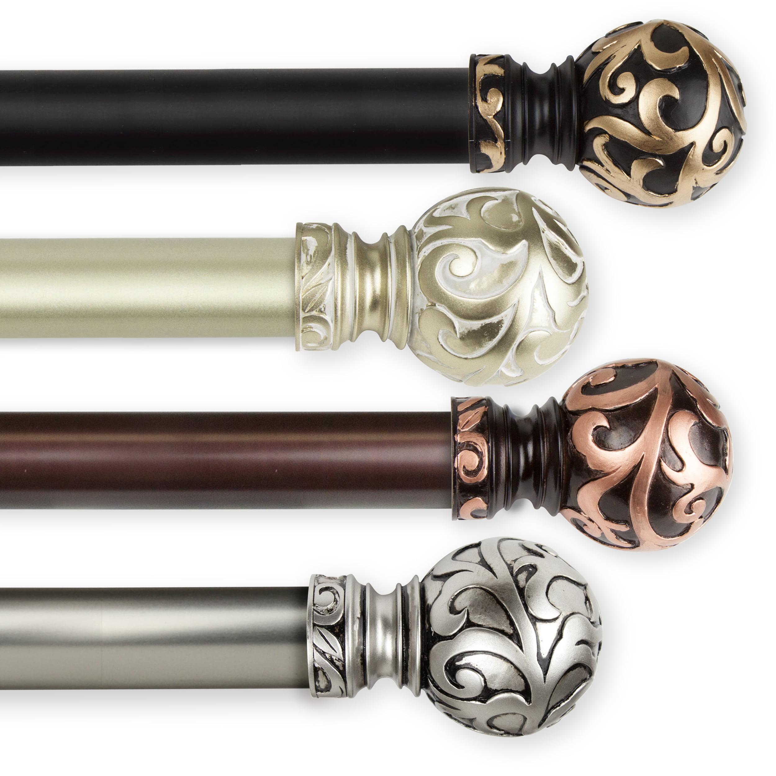 "Cypress 1"" dia. Curtain Rod 160-240 inch - Black"