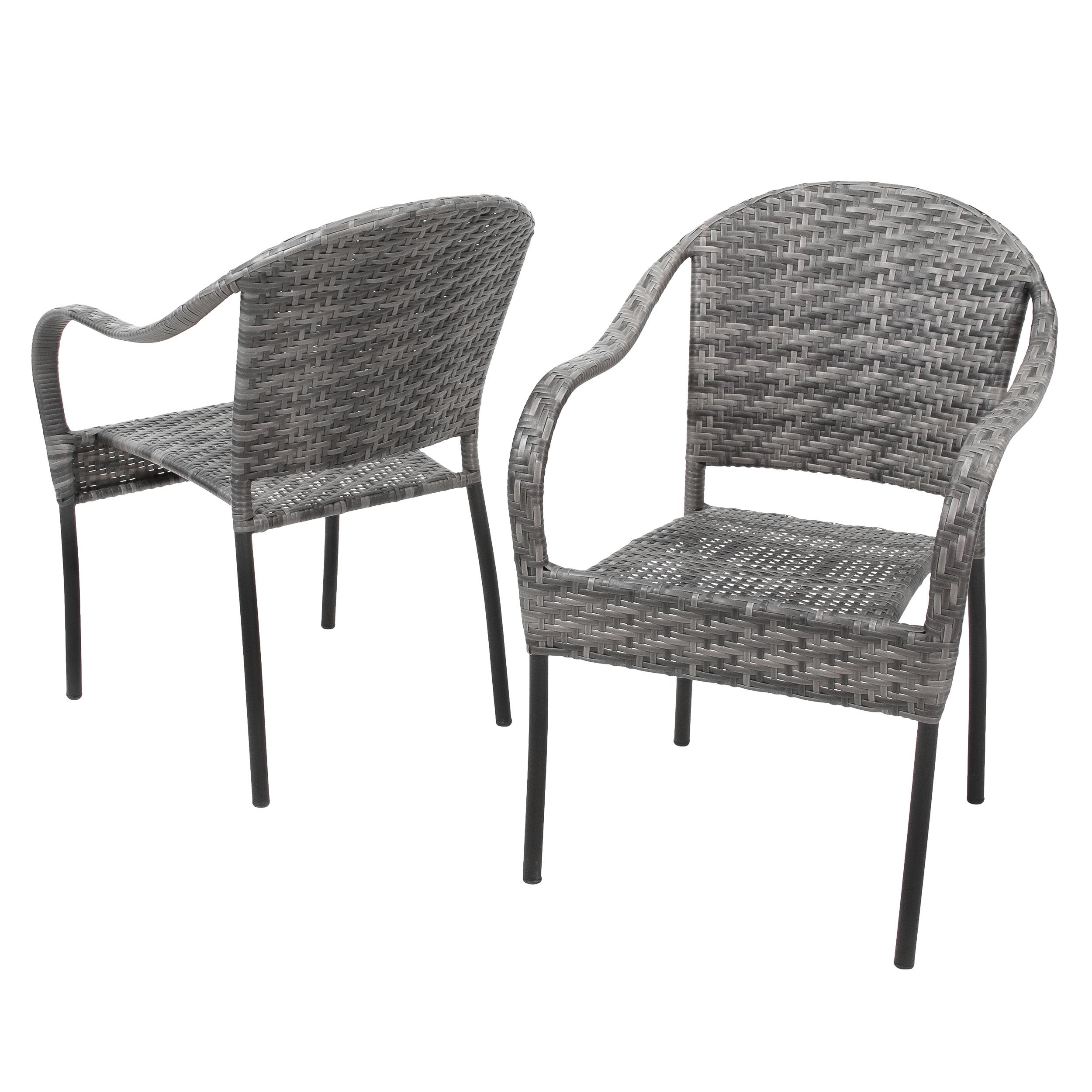 Grey Outdoor Wicker Chair (Set of 2)