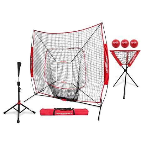 PowerNet DLX Pro Bundle (Baseball Softball Net w/ Strike Zone, 3 Training Balls, Travel Tee & Ball Caddy)
