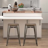 DHP Fusion 24-inch Metal Backless Counter Stool w/Wood Seat Set of 2