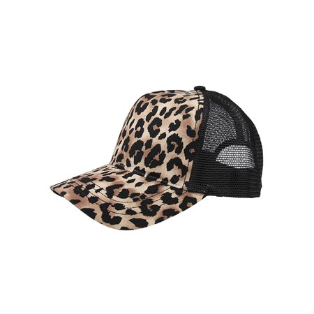 Top Headwear Fashion Animal Print Trucker (Silver Disc Top Cap)