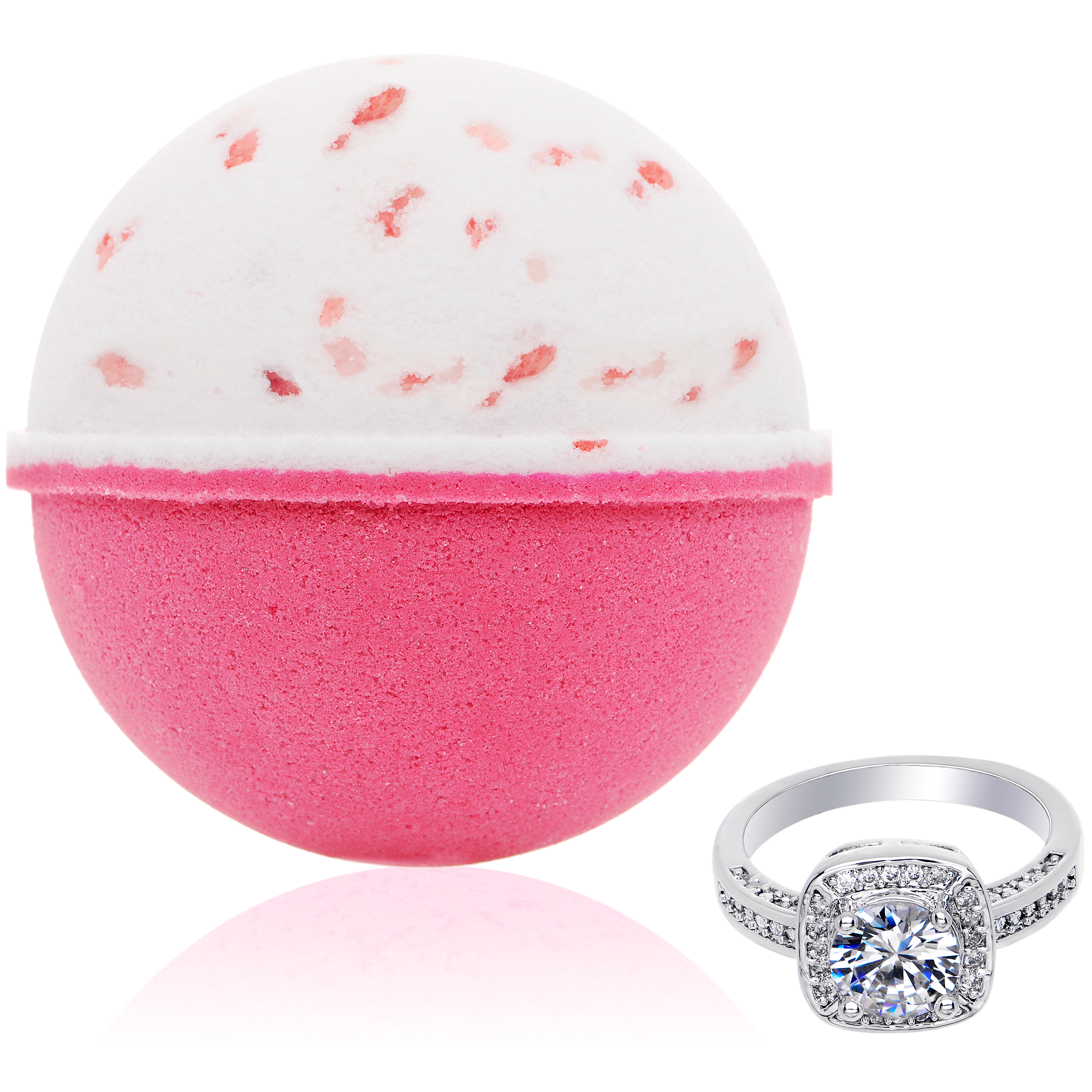Bath Bomb with Size 7 Ring Inside Pink Himalayan Sea Salt Extra Large 10 oz. Made in USA