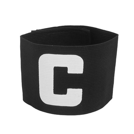 Letter C Printed Stretchy Football Soccer Sports Captain Armband Sleeve Black