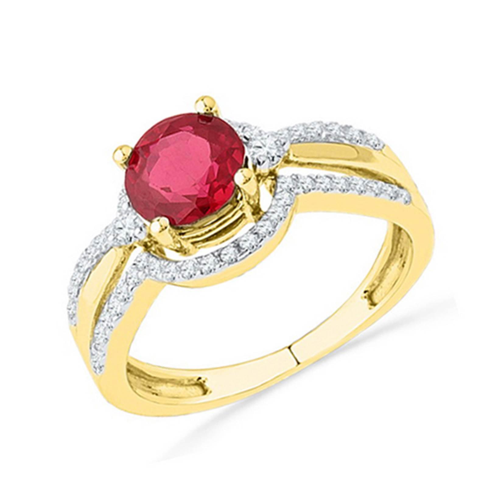 10k Yellow Gold Diamond & Created Ruby Fashion Bridal Ring 1.70CT
