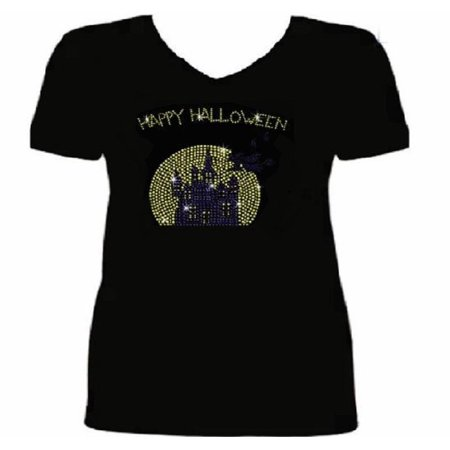 Halloween Witch Flying to Castle Women's t Shirt HAL-121-SV - (Frankenstein's Castle Halloween 2019)