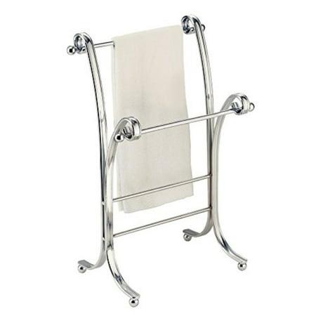 InterDesign York Lyra Fingertip Hand Towel Rack – Free-Standing Bathroom Vanity Towel Holder/Dryer, Chrome