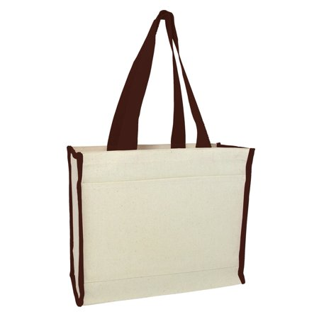 Set of 12 - Canvas Shopping Tote Bags (Chocolate)