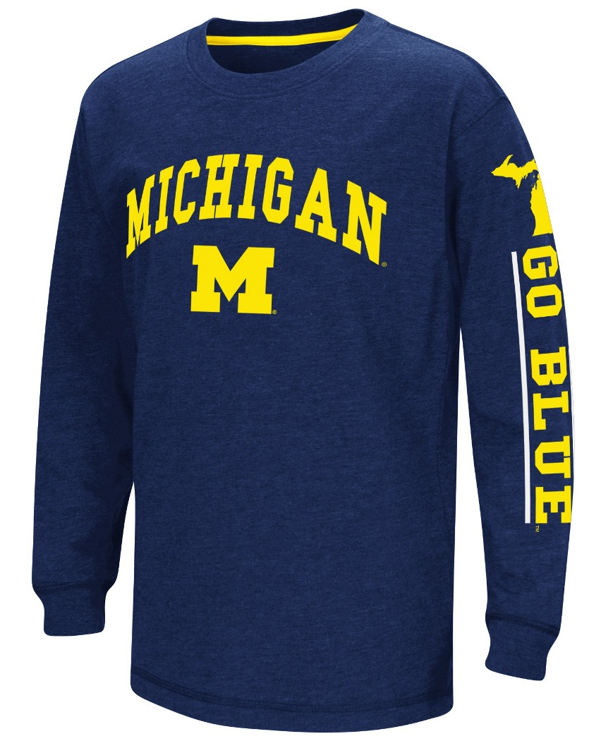 """Michigan Wolverines NCAA """"Grandstand"""" Long Sleeve Dual Blend Youth T-Shirt by Colosseum"""