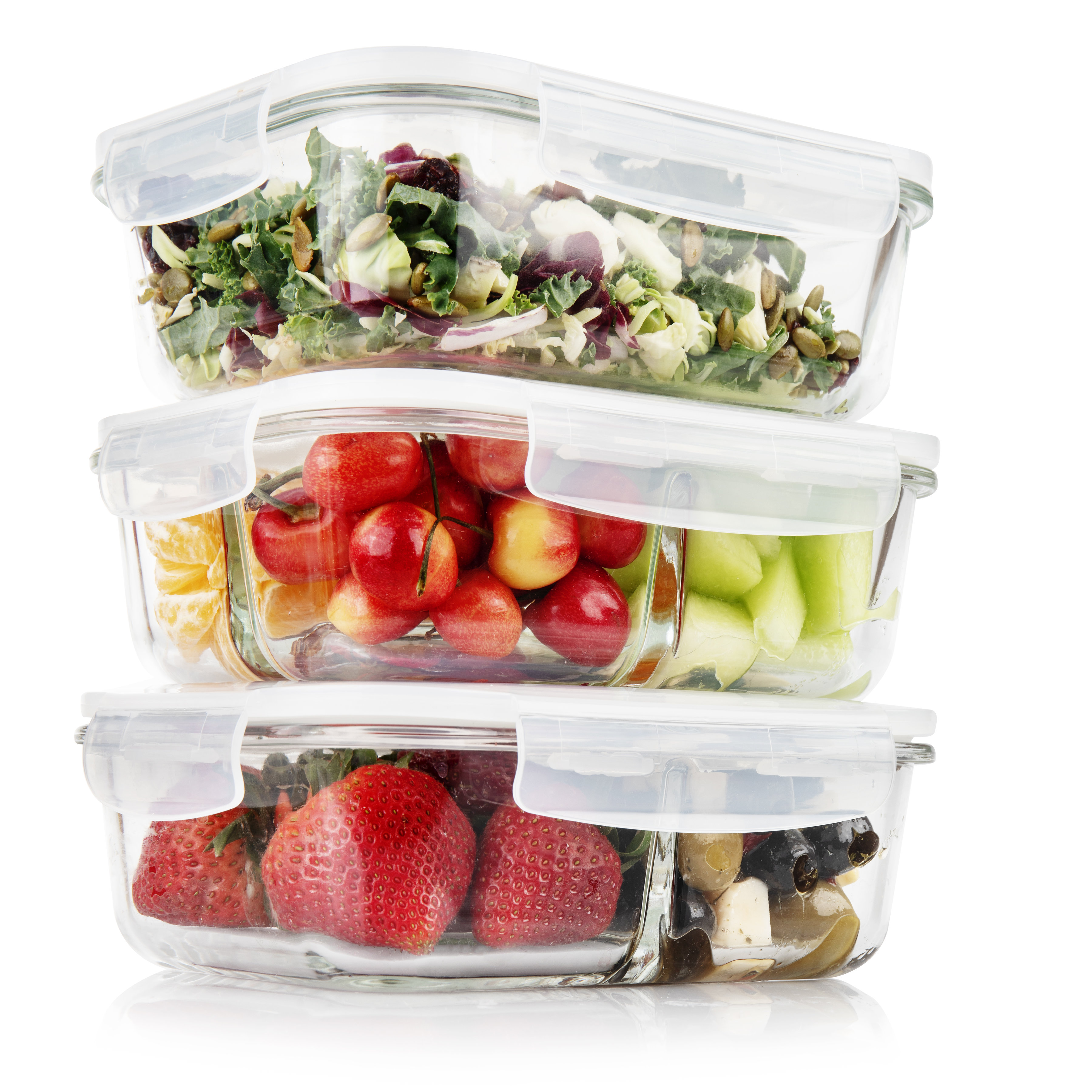 1 & 2 & 3 Compartment Glass Meal Prep Containers - 3 Pack, 35 Oz
