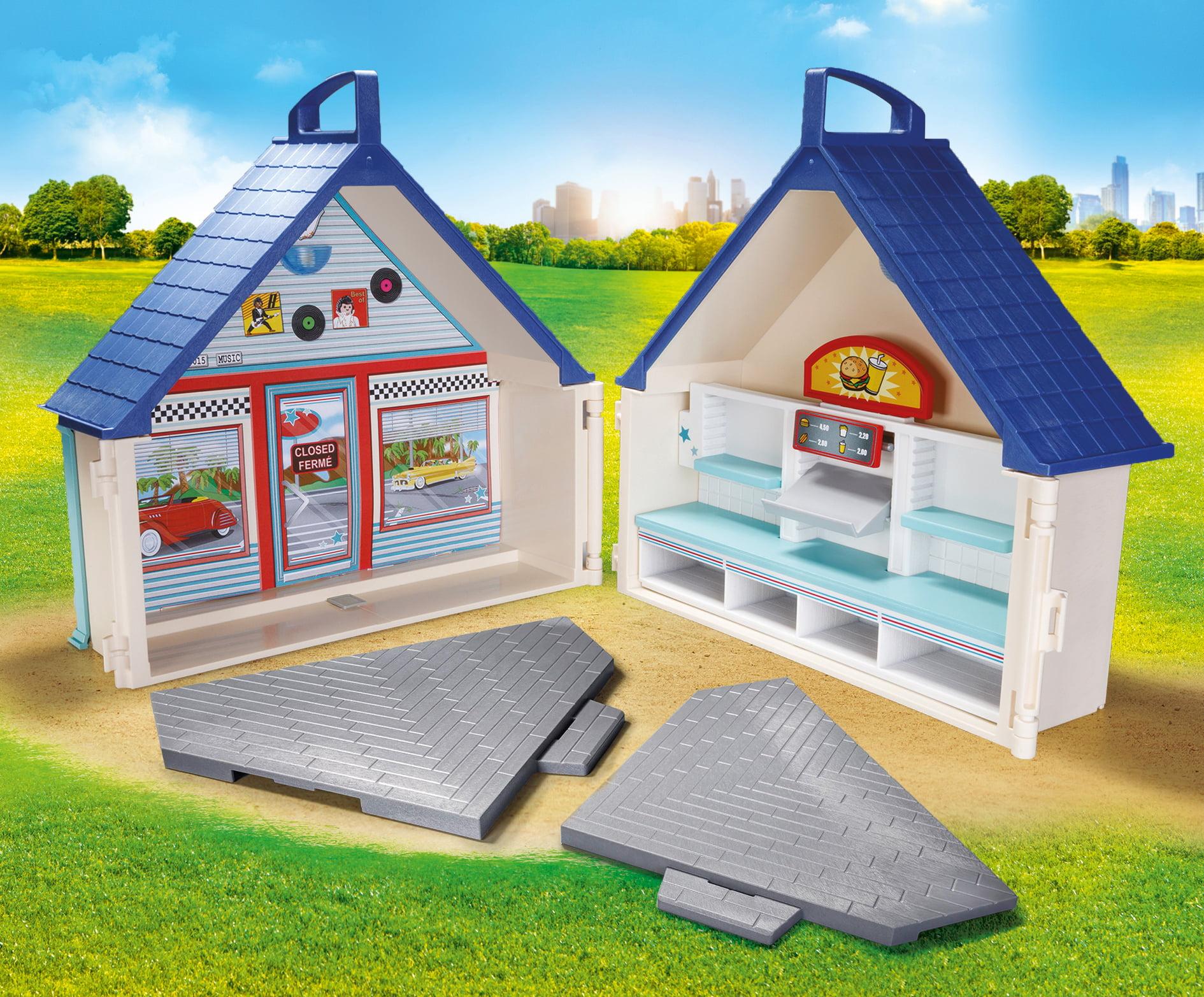 Playmobil Take Along Diner Restaurant Cafe Grey Triangle Base Plate Floor 70111