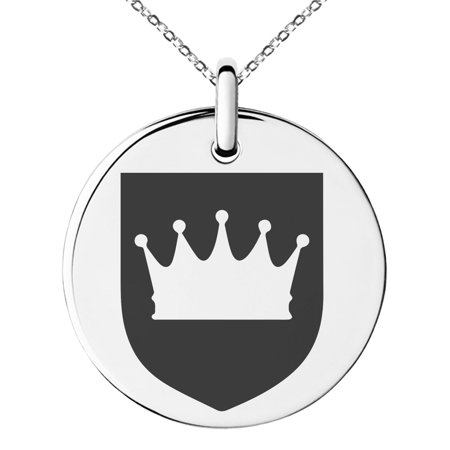 Stainless Steel Crown Royal Coat of Arms Shield Engraved Small Medallion Circle Charm Pendant - Crown Medallion