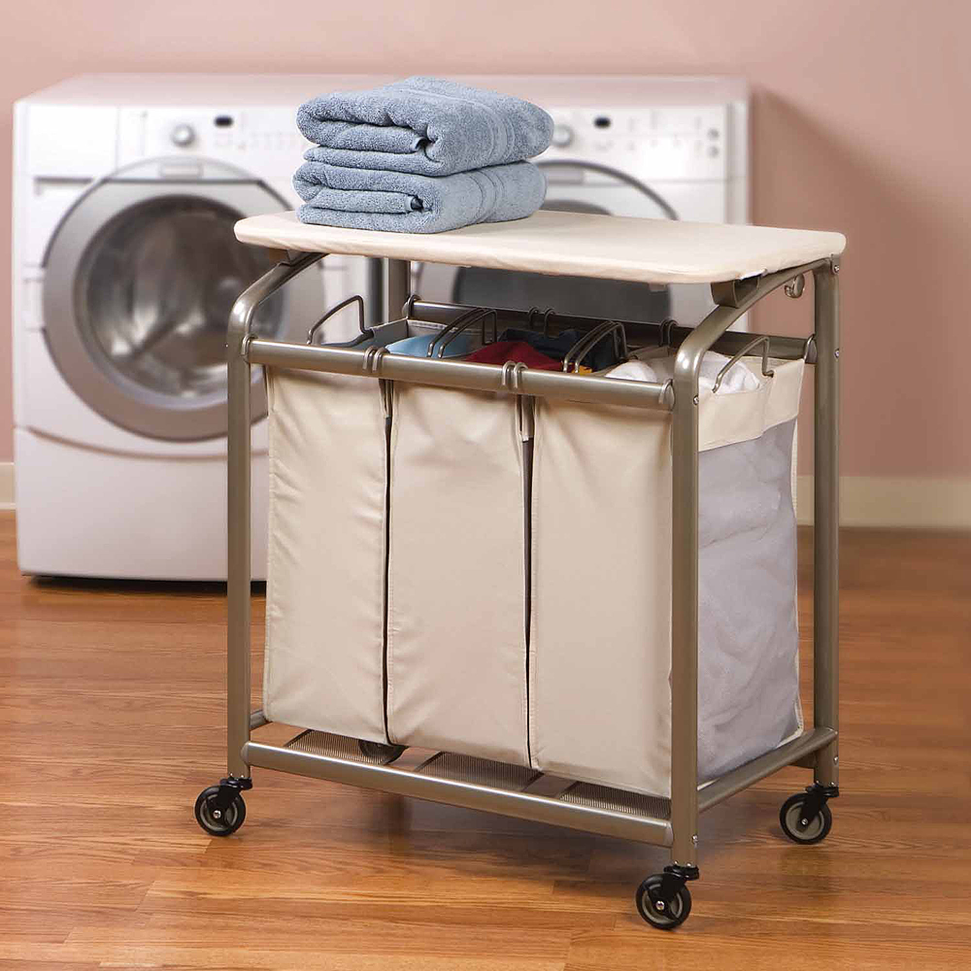 Seville Classics 3 Bag Laundry Hamper Sorter Cart With Folding Table,  Champagne   Walmart.com