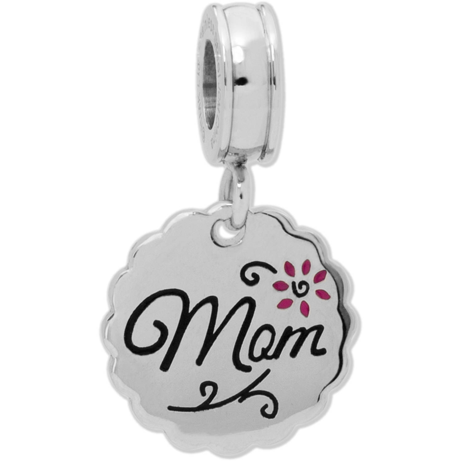 Connections from Hallmark Stainless Steel Mom Dangle Bead with Flowers
