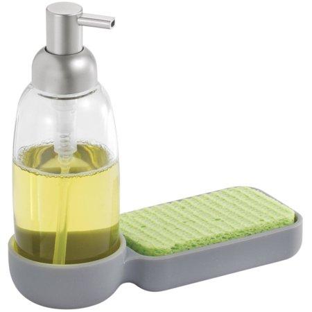 Interdesign Lineo Kitchen Glass And Silicone Soap Dispenser Pump And Sponge Caddy Organizer
